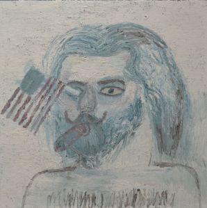 Zelfportret met vlag 2013, 110x110cm